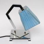 N24 - Nachttischleuchte Art Deco, verchromt, ausgefallene Optik, Lampenschirmbespannung erneuert