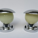 NP4 - Nachttischleuchten, Tschechien, NAPAKO, Art Deco, beige Überfangglasschirme