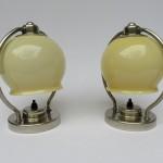 NP17 - 1 Paar Nachttischleuchten, Art Deco, vernickelt, ausgefallene Lampenschirme, beiges Überfangglas