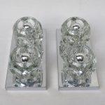 D96 - 1 Paar Deckenleuchten oder Wandleuchten, Peill & Putzler, 60er/70er Jahre, Klarglas 6eckig, Metall verchromt