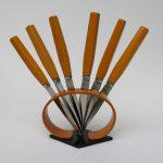 K75 - Obstmesser-Set, Art Deco, Bakelit ocker und schwarz