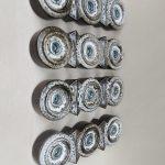 W216 - 4 Stück Wandleuchten, Keramik, 60er/70er Jahre, bez. Pan (Metallschild)