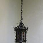 D176 - Deckenleuchte, Arts and Crafts, Jugendstil, Schmiedeeisen, farbige Bleiverglasung