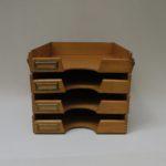 BS32 - Ablagekasten Holz für DIN A4, 4fach, 30er - 50er Jahre