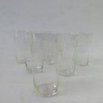 6 kleine Wassergläser, Art Deco, 3 unterschiedliche Dekore (3x, 2x, 1x)