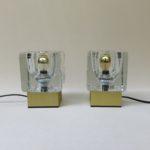 T189 - Neuzugang - 1 Paar kleine Tischleuchten, 60er/70er Jahre, Peill & Putzler, Düren, Aluminium goldfarben eloxiert, Glas