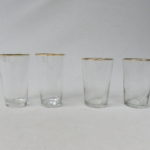 4 Wassergläser, Art Deco, 2 x groß, 2 x klein, die Großen mit Ätzmarke 0,2 L, Goldrand