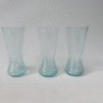 3 Stück Wassergläser, Art Deco, hellblaues Glas, Luftblasen