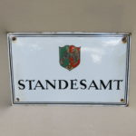 """W95 - Emailschild """"STANDESAMT"""", Wappen von Nordrhein-Westfalen, 30er Jahre, Email-Müller, Hamburg Wandsbek, gewölbt"""