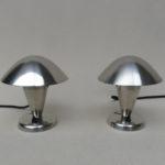 T100 - 1 Paar kleine Tischleuchten, Pilzleuchten, Art Deco, Hersteller: NAPAKO, Tschechien, vernickelt