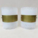 W229 - 1 Paar große Wandleuchten, 60er Jahre, Plexiglas farblos, gebürstet, Messing mattiert