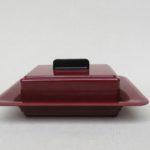 K121 - Butterdose, Art Deco, Bakelit weinrot, original Glaseinsatz