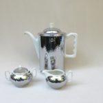 K118 - Kaffeekern - Kaffeekanne, Warmhaltekanne 1,5 L, Milch und Zucker, verchromt, Porzellan, 50er Jahre, Thomas Porzellan, Thermisol