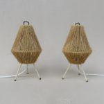 T192 - 1 Paar klein Tischleuchten, 60er Jahre, String, Messing, Aufsteckschirme Sisal