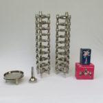 W78 - Set von 20 Kerzenleuchtern mit einer Schale und einer Vase, BMF, verchromt, 22tlg.