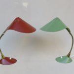 """T11 - 1 Paar Schreibtischleuchten """"Kobra"""", Gebrüder Cosack, 50er Jahre, rostbraun, mintgrün, Messing, Schwanenhals"""