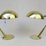 T185 - 1 Paar Tischleuchten, 50er Jahre, Hillebrand, Messing poliert