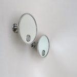 BZ27 - 1 Paar Wandspiegel, 1 x Vergrößerungsspiegel, 1 x Normalansicht, Art Deco, Frankreich, vernickelt, bez. Le Mirophar Brot depose, mit Beleuchtung
