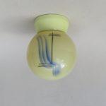 D185 - kleine Deckenleuchte, Spritzdekor, Art Deco, Porzellan, Glas, bez. REGENT