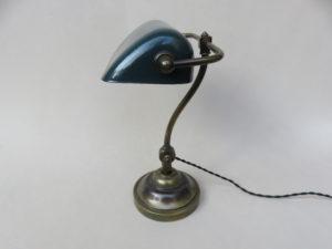 B18 - Bankerlampe, Jugendstil, Messing, emailliert
