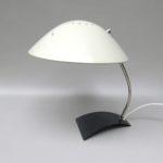 SK50 - Schreibtischleuchte, Kaiser-Leuchten Modell 6840, 60er Jahre, Schirm weiß, Stand anthrazit, vernickelt