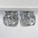 D97 - Deckenleuchte oder Wandleuchte, Peill & Putzler, 60er/70er Jahre, 4fach, Klarglas 6eckig, Metall verchromt