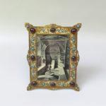 BR80 - Bilderrahmen, 19. Jahrhundert, Italien/Venedig, Messing, Glascabochons, Türkise