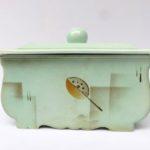 K51 - Gebäckdose, Villeroy & Boch, Art Deco, Keramik, grün - Spritzdekor