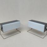 NP138 - 1 Paar kubistische Nachttischleuchten, 60er Jahre, Plexiglas, vernickelt, anthrazit matt