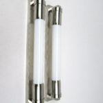 WS17 - 1 Paar Wandleuchten, Röhrenlampen, Machine Age, vernickelt