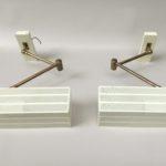 """W234 - 1 Paar Wandleuchten, """"Cube"""", 60er Jahre, beige, selten mit Messing, bur Bünte & Remmler, Entwurf: Max Bietenholz"""