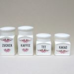 "K103 - 4 Stück Vorratsdosen Zucker, Kaffee, Tee, Kakao, Keramik, Max Roesler, ""Röschenmuster"", Art Deco"