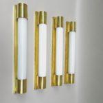 WS3 - 4 Stück minimalistische Wandleuchten, Soffitten, Art Deco, Messing poliert