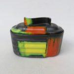 K83 - Gebäckdose, Art Deco, Ziegler Schaffhausen, Keramik, Spritzdekor, Uranglasur schwarz orange gelb grün
