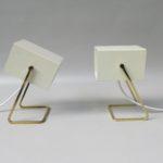 NP139 - 1 Paar Nachttischleuchten, Kaiser-Leuchten Neheim-Hüsten, 60er Jahre, kubistisch, beige, Messing