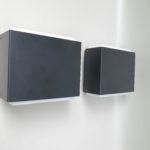 A7 - kubistische Außenleuchten, mit Schirm, 60er Jahre, BEGA, Überfangglas, Aluminium, Metall
