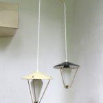 """D192 - Deckenleuchte """"Laternen"""", Kaskade, 50er Jahre, gelb, schwarz, Messing, Glas"""