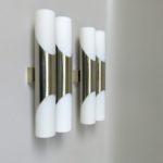 W192 - 1 Paar Wandleuchten, 60er Jahre, Neuhaus-Leuchten, vernickelt, Überfangglas mattiert