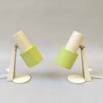 NP123 - 1 Paar Nachttischleuchten, 50er/60er Jahre, beige, grüngelb, Messing