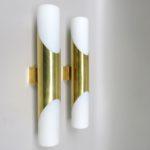 W193 - 1 Paar Wandleuchten, 60er Jahre, Neuhaus-Leuchten, Messing, vermessingt, Überfangglas mattiert