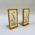 W108 - 1 Paar Buchstützten, Ilse Wehe, Handmalerei, 50er Jahre, Holz, Keramik